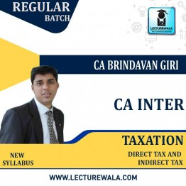 CA Inter Direct Tax And Indirect Tax Regular Course Combo : Video Lecture + Study Material By CA Brindavan Giri (For MAY - NOV 2022)