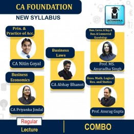 CA Foundation All Subjects Regular Course Combo : Video Lecture + Study Material By Prof. Anurag Gupta, Prof. Ms. Anuradha Singh, CA Nitin Goel, CA Priyanka Jindal & CA Abhay Bhanot (For May 2021 TO NOV.2021)