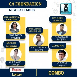 CA Foundation All Subjects Regular Course Combo : Video Lecture + Study Material By Prerak Trivedi, Roopa Trivedi, CA Manoj Prajapat, CS Sweena Kanuja, CS Saurabh Badjatia And Prof. Mridul Dadhich (For Nov. 2021)