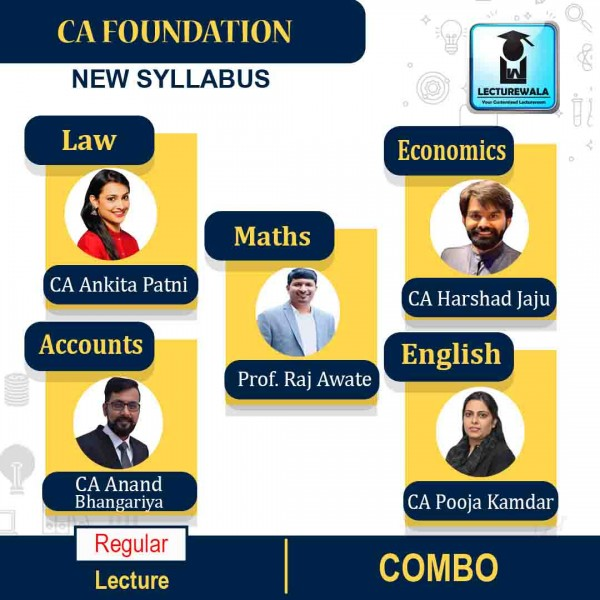 CA Foundation All Subject Combo Full Course : Video Lecture + Study Material By CA Ankita Patni, CA Anand Bhangariya, CA Harshad Jaju, CA Pooja Kamdar & CA Prof. Raj Awate (For May 2021 & Nov. 2021)