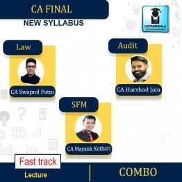 CA Final Law + Audit + SFM Crash Course Combo New Syllabus : Video Lecture + Study Material By CA Swapnil Patni, CA Harshad Jaju, CA Mayank Kothari  (For May 2021 & Nov. 2021)
