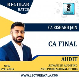 CA Final Audit New Syllabus In Hindi & English Regular Course : Video Lecture + E Book By CA Rishabh Jain (For  May/Nov. 2021)