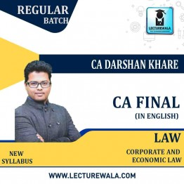 CA Final Law Regular Course New Recording In English : Video Lecture + Study Material By CA Darshan Khare (For May 2021 TO NOV .2021)