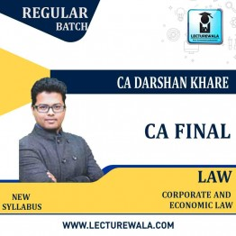 CA Final Law Regular Course New Recording : Video Lecture + Study Material By CA Darshan Khare (For May 2021 & Nov. 2021)