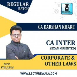 CA Inter Law Exam Oriented Crash Course : Video Lecture + Study Material By CA Darshan Khare (For May 2021 TO NOV.2021)