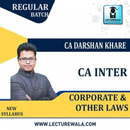 CA Inter Laws Regular Course : Video Lecture + Study Material By CA Darshan Khare (For May 2021 TO NOV.2021)