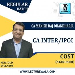 CA Inter/Ipcc Cost  Regular Course (Standard) : Video Lecture + Study Material By CA Manish Dhandharia (For May 2021 & Nov. 2021)