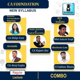 CA Foundation All Subject Combo Regular Course : Video Lecture + Study Material By CA Shilpi Soni, CS Vaibhav Bhatia, CA Rajeev Jha, CA Anuj Gupta & MBA Sukesh Singh (For May 2021 & Onwards)