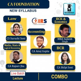 CA Foundation All Subject Combo Regular Course (Live Batch) Pre Booking : Video Lecture + Study Material By CA Shilpi Soni, CS Suruchi Soni, CA Rajeev Jha, CA Anuj Gupta & MBA Sukesh Singh (For May 2021 & Onwards)