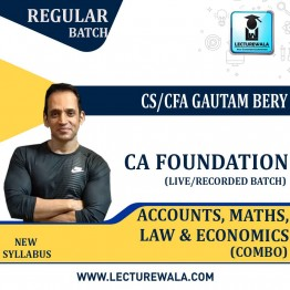 CA Foundation Accounts, Maths, Law & Economics (Combo) : Video Lecture + Study Material by CS/CFA  Gautam Bery & Team (Nov. 2020 & May 2021)