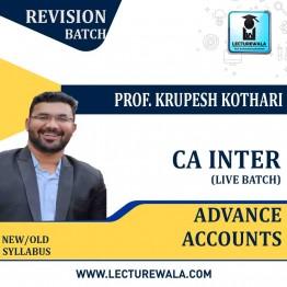CA Inter / Ipcc Adv. Accounts Live Revision Batch : Video Lecture + E Book By Prof. Krupesh Kothari (For Nov. 2020)