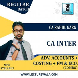 CA Inter Cost + Fm Eco. + Adv. Accounts Combo Regular Course : Video Lecture + Study Material by CA Rahul Garg (For May 2021 & Nov. 2021)