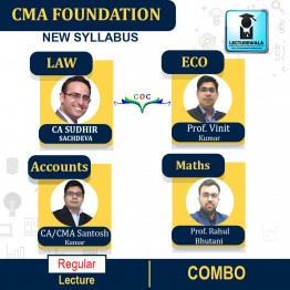 CMA FOUNDATION ACCOUNTING+ECONOMICS+MATHS+ LAW & ETHICS COMBO Regular Course : Video Lecture + Study Material By CA Santosh Kumar   (For DEC 2021 / JUNE 2022  )