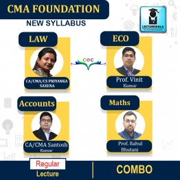 CMA FOUNDATION ACCOUNTING+ECONOMICS+MATHS+ LAW & ETHICS COMBO Regular Course : Video Lecture + Study Material By Santosh Kumar  (For DEC 2021 /  JUNE 2021)
