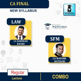 CA Final Law & SFM Regular Course Combo : Video Lecture + Study Material By CA Darshan Khare and CA Mayank Kothari  (For NOV 2021 & MAY. 2022)