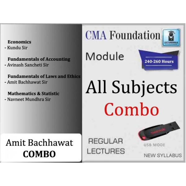 CMA Foundation All Subject Combo : Video Lecture + Study Material (For June & Dec. 2019)