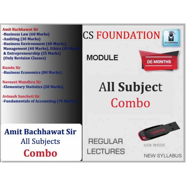 CS Foundation All Subject Combo Regular Course : Video Lecture + Study Material (For Dec 2019 & Onwards)