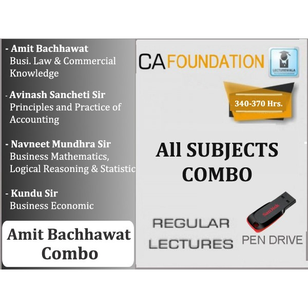 CA Foundation All Subject Combo : Video Lecture + Study Material By Amit Bachhawat Sir (For Nov. 2019 & Onwards)