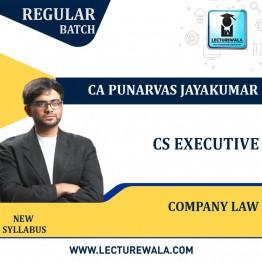 CS Executive Paper 2 – Company Law Regular Course New Syllabus : Video Lecture + Study Material By CA Punarvas Jayakumar (For June 2021 / Dec 2021)