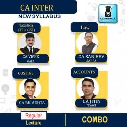 CA Inter Combo (Tax + Law + Costing + Account)  New Syllabus Regular Course : Video Lecture + Study Material By CA Vivek  Gaba & CA Sanjeev Sapra & CA Jitin Tyagi & CA RK Mehta (For Nov. 2021)