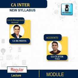 CA Inter Combo (Cost & Management Account + Account)  Regular Course New Syllabus : Video Lecture + Study Material By  CA RK Mehta & CA Jitin Tyagi (For Nov. 2021 & May 2022)