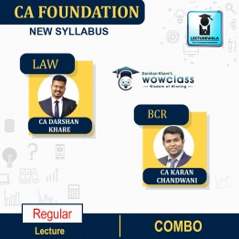 CA Foundation Law & BCR Combo Regular Course : Video Lecture + Study Material By CA Darshan Khare & CA Karan Chandwani (For Nov. 2021 & May 2022)