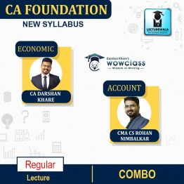 CA Foundation Acc & Eco Combo (Pre - Booking) Regular Course : Video Lecture + Study Material By CA Darshan Khare & CMA CS Rohan Nimbalkar (For Nov. 2021 & May 2022)