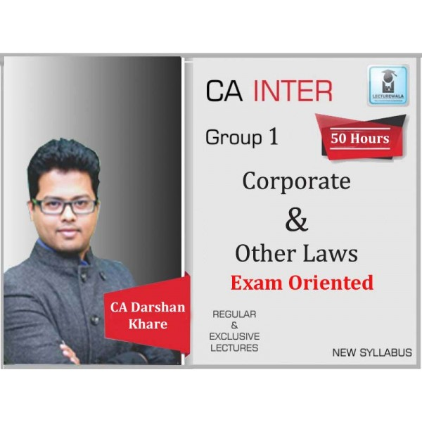 CA Inter Law Exam Oriented Crash Course : Video Lecture + Study Material By CA Darshan Khare (For May 2020 & Nov. 2020)