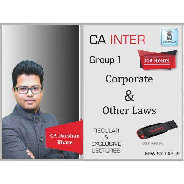 CA Inter Laws Regular Course : Video Lecture + Study Material By CA Darshan Khare (For May 2020 & Nov. 2020)