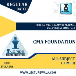 CMA Foundation Combo - (Acc + Maths + Law + Eco) Regular Course New Syllabus : Video Lecture + Study Material by Inspire Academy (For Dec 21 & June 22)