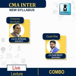 CMA Inter Combo Group -2 Company Accounts + Cost & Financial Management Online Live Batch Regular Course : Video Lecture + Study Material By CA Avinash Sancheti & CA navneet Mundhra  (For Dec. 2021)