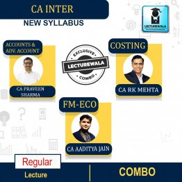 CA INTER Accounting & Adv. Accounting (Sep-21 Batch) & Costing & Fm-Eco. Regular Course : Video Lecture + Study Material ByCA PARVEEN SHARMA CA RK MEHTA  CA AADITYA JAIN  (For May 2022 & Onwards)