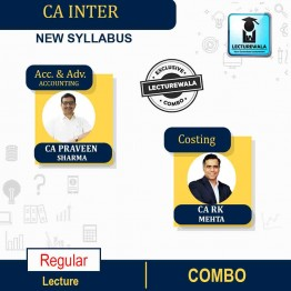 CA INTER Accounting & Adv. Accounting (Sep-21 Batch) & Costing (Live Batch+Backup) Regular Course : Video Lecture + Study Material ByCA PARVEEN SHARMA CA RK MEHTA  (For May 2022 & Onwards)