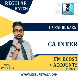 CA Inter Fm Eco. + Accounts + Cost Combo Regular Course : Video Lecture + Study Material by CA Rahul Garg (For  Nov. 2021 & May 2021)