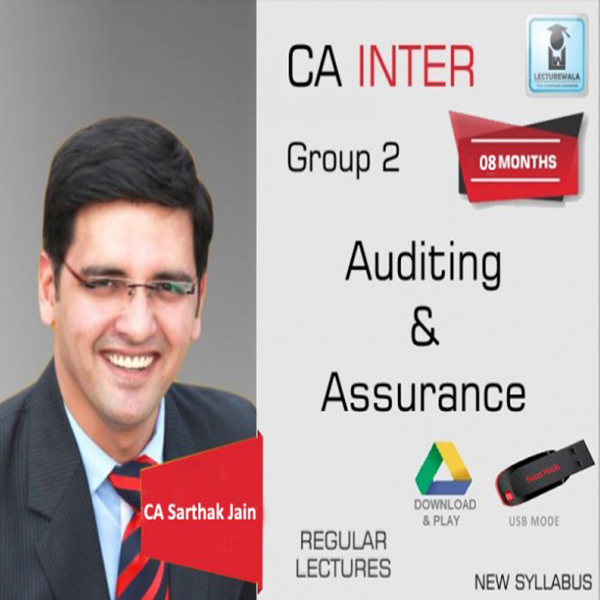 CA Inter Audit and Assurance With MCQ Regular Course : Video Lecture + Study Material By CA Sarthak Jain (For May 2020 & Nov. 2020)