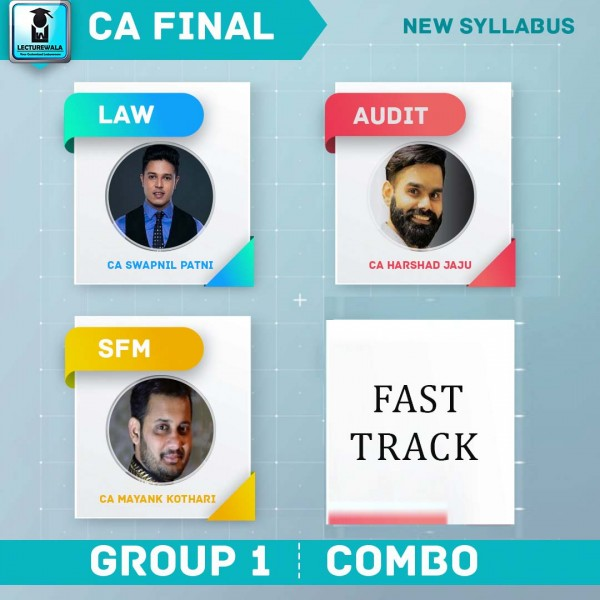 CA Final Law + Audit + SFM Crash Course Combo New Syllabus : Video Lecture + Study Material By CA Swapnil Patni, CA Harshad Jaju, CA Mayank Kothari  (For May 2020)