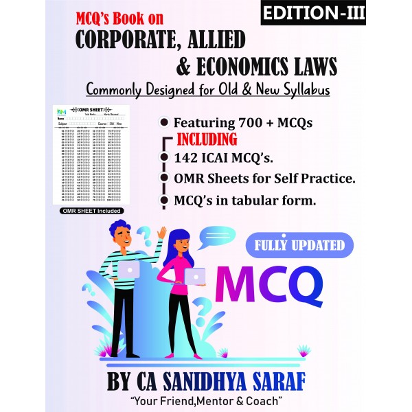 CA Final Corporate and Allied /Economic Laws MCQs Book (New & Old Course) : Study Material By CA Sanidhya Saraf (For May 2020)