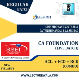 CA Foundation Combo (Acc + Eco + BCK) Live Batch Regular Course New Syllabus : Video Lecture + Study Material By CIMA Siddhant Sonthalia, CA Tanish Mangal & CA Anurag Sharma (For Nov 2021 & May 2022)