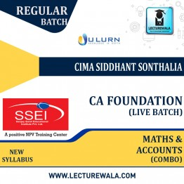 CA Foundation Maths, LR and Statics & Accounts Combo Live Batch Regular Course New Syllabus : Video Lecture + Study Material By CIMA Siddhanth Sonthalia  (For Nov 2021 & May 2022)