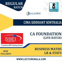 CA Foundation Business Mathematics and Logical Reasoning & Statistics Live Batch Regular Course New Syllabus : Video Lecture + Study Material By  CMA Siddhanth Sonthalia (For Nov 2021 & May 2022)