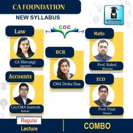 CA Foundation Combo (Account + Eco + Maths + Law + BCR)  Regular Course : Video Lecture + Study Material By CA / CMA Santosh Kumar, Prof Vinit Kumar, Prof Rahul Bhutani, CA Shivangi Agarwal  & CMA Disha Dua (For Nov. 2021)