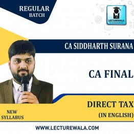CA Final Direct Tax In English Regular Course : Video Lecture + Study Material By CA Siddharth Surana (For  May 2022 & Nov.2022)