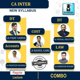 CA Inter GST + DT (TAXATION) + Law + Accounts + Costing COMBO  Only Pen Drive Regular Course : Video Lecture + Study Material By CA VISHAL BHATTAD CA VIJAY SARDA  CA DARSHAN KHARE  CA PRAVEEN SHARMA  CA RAHUL GARG  (For May 2