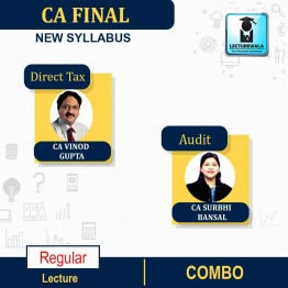 CA Final Direct Tax (Old/New Syllabus) & Audit (New Syllabus) Combo Regular Course : Video Lecture + Study Material By CA Vinod Gupta & CA Surbhi Bansal For (NOV.2021)