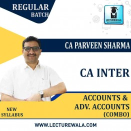 CA INTER COMBO Accounting & Adv. Accounting LIVE BATCH Pre-Booking  Regular Course : Video Lecture + Study Material By CA Praveen Sharma (For Nov. 2021)